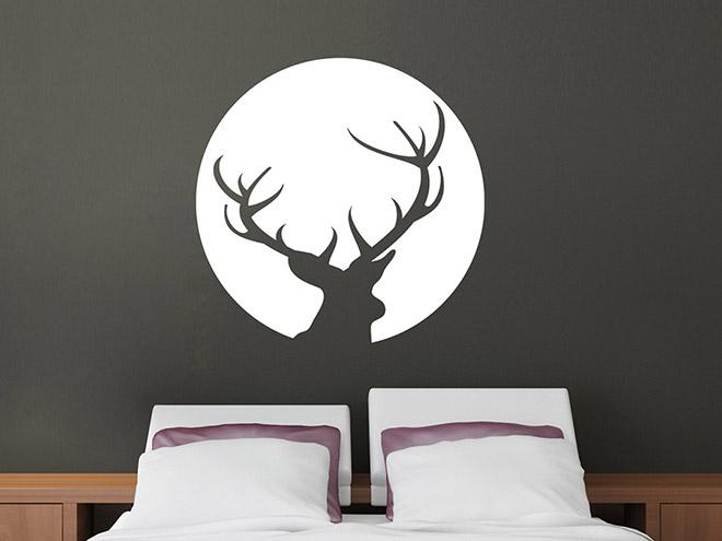 wandtattoo vollmond hirsch wandtattoo de. Black Bedroom Furniture Sets. Home Design Ideas
