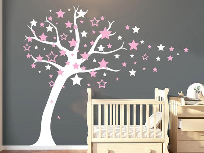 wandtattoo sternenbaum mit sternschnuppen wandtattoo de. Black Bedroom Furniture Sets. Home Design Ideas