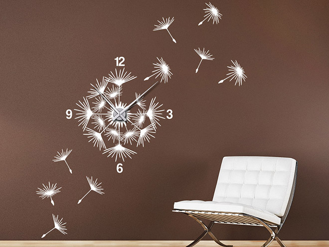 wandtattoo uhr pusteblume mit samen wanduhr wandtattoo de. Black Bedroom Furniture Sets. Home Design Ideas