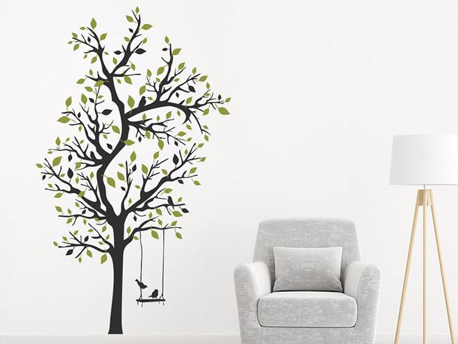 wandtattoo verzweigter baum mit schaukel wandtattoo de. Black Bedroom Furniture Sets. Home Design Ideas