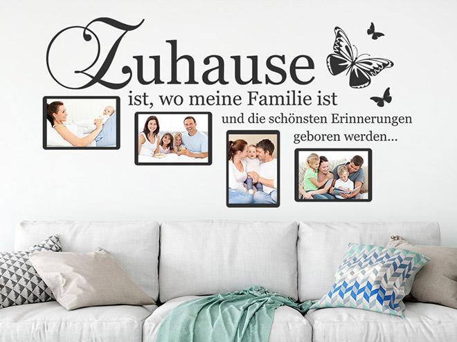 wandtattoo fotorahmen zuhause ist wandtattoo de. Black Bedroom Furniture Sets. Home Design Ideas