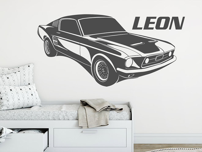 wandtattoo muscle car mit name wandtattoo de. Black Bedroom Furniture Sets. Home Design Ideas