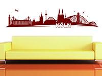 Skyline Köln Wandtattoo über der Couch