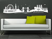 London Wandtattoo Skyline in weiß auf dunklem Hintergrund