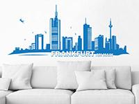 Frankfurt Wandtattoo Skyline über dem Sofa und in Farbe