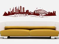 Skyline Wandtattoo Sydney im Wohnzimmer
