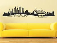 Sydney Wandtattoo Skyline über dem Sofa