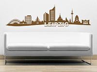 Skyline Leipzig Wandtattoo in Farbe über der Couch
