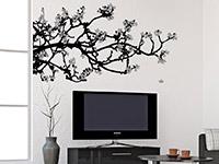 Wandtattoo Magnolien im Wohnzimmer auf heller Wand
