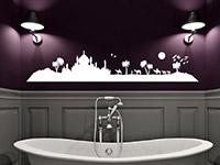 Skyline Oase Wandtattoo in weiß im Badezimmer