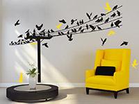 Wandtattoo Stromleitung mit Vögeln | Bild 2