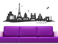Wandtattoo Paris Skyline auf heller Wandfläche