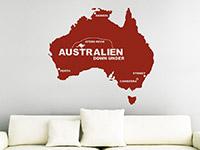 Internationales Wandtattoo Australien in rot auf heller Wandfläche