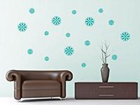 Wandtattoo Set Blüten in türkis im Wohnzimmer