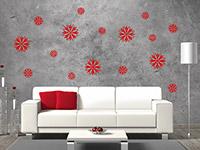 Blüten Wandtattoo Set in rot auf grauer Wand