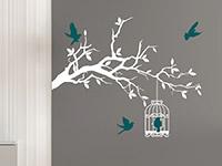 Romantischer Wandtattoo Ast mit Vogelkäfig in weiß und türkis