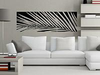 Dreiteiliges Wandtattoo Banner Palmenblatt im Wohnzimmer