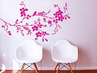 Wandtattoo Ast mit Blüten in pink im Flur