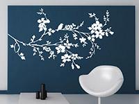 Ast Wandtattoo mit Blüten in weiß