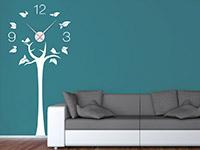 Baum Wandtattoo Uhr in weiß mit silbernem Uhrwerk