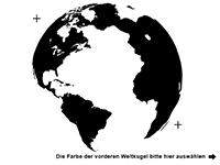 Wandtattoo Weltkugel 3D Motivansicht