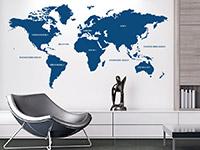 Wandtattoo Welt im Wohnzimmer
