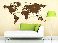 Welt Wandtattoo Weltkarte in Farbe über der Couch