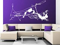 Abstrakte Kunst Wandtattoo in weiß im Wohnzimmer
