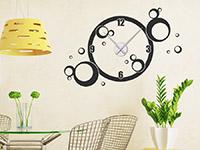 Kreise Wandtattoo Uhr im Esszimmer als stylische Retro Deko