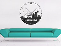 Hamburg Wandtattoo Uhr als moderne Wanddekoration im Wohnbereich