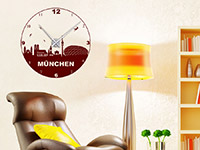 Wandtattoo Uhr München im Wohnzimmer