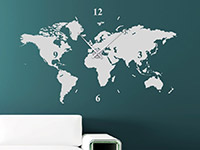 Wandtattoo Uhr Weltkarte im Wohnzimmer