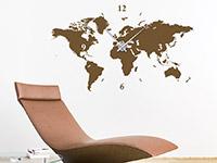 Welt Wandtattoo Uhr in Farbe