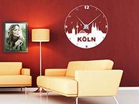 Köln Wandtattoo Uhr in weiß