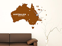 Wandtattoo Uhr Australien im Wohnzimmer
