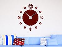 Wandtattoo Uhr Retro Zahlen im Wohnzimmer