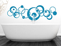 Wandtattoo Ornament Retro Circles im Badezimmer
