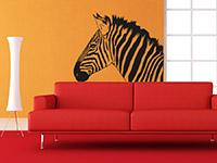Zebra Wandtattoo im Wohnzimmer