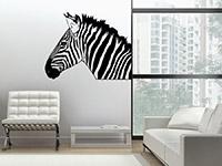 Tier Wandtattoo Zebra auf heller Wandfläche