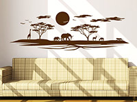 Afrika Wandtattoo Serengeti im Wohnzimmer