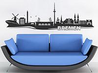 Skyline Wandtattoo Bremen im Wohnzimmer