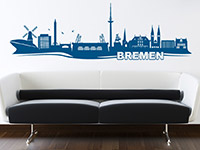 Skyline Bremen Wandtattoo in Farbe