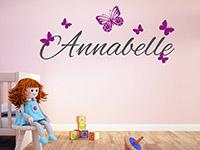 Schmetterlinge Wandtattoo Wunschname im Babyzimmer