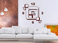 Wandtattoo Uhr Retro Cubes im Wohnzimmer
