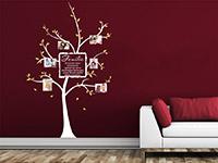 Baum Wandtattoo Familie mit Fotos in weiß