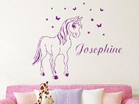 Pony Wandtattoo mit Wunschname im Kinderzimmer