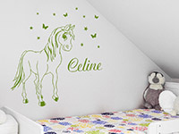 Pferde Wandtattoo Pony mit Name in Farbe