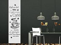 Kaffee Wandtattoo Banner auf dunkler Wandfläche