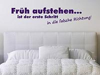 Wandtattoo Spruch Früh aufstehen... im Schlafzimmer