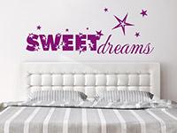 Sweet Dreams Wandtattoo mit Sternen im Schlafzimmer